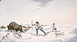 Indian hunters pursuing buffalo in the early spring, ca. 1822