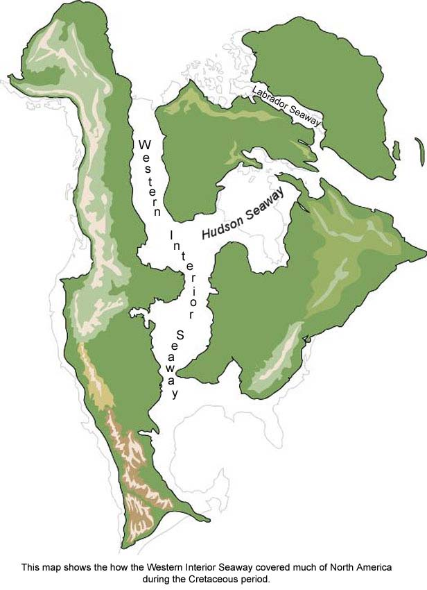 Map Of The Western Interior Seaway During The Cretaceous Period.