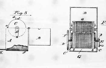 Page from Eliza E. Scott's 1885 patent, DRUGGIST'S SIEVE; 6 pages