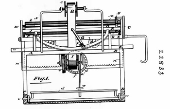 Page from Edward E. Horton's 1885 patent, TYPE-WRITING MACHINE; 15 pages