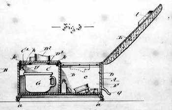 Page from Charles Hercule Damase Sincennes' 1893 patent, COMBINED COMMODE AND HOUSEHOLD RECEPTACLE; 7 pages