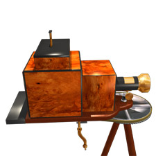 Artist's rendition of John R. Connon's 1888 PHOTOGRAPHIC INSTRUMENT, right side view