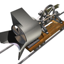 Artist's rendition of Orange Jull's 1884 SNOW PLOUGH, left side view