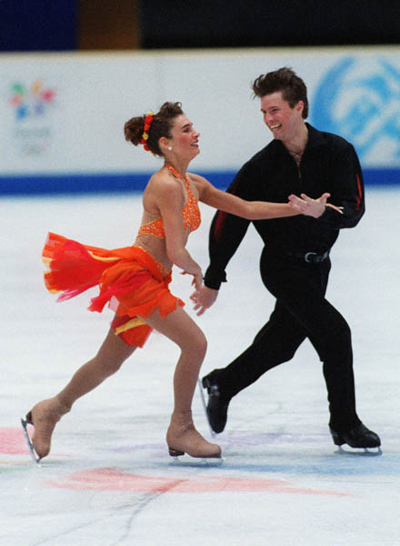 Canada's Chantal Lefebvre and Michel Brunet perform their routine during the ice dancing competition at the 1998 Winter Olympics in Nagano, Japan.(CP PHOTO/COA)