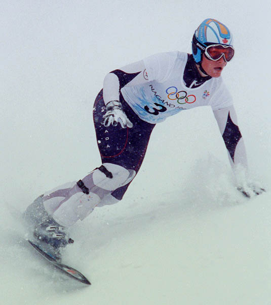 Canada's Ross Rebagliati competes in the Snowboard event at the 1998 Nagano Olympic Games. (CP Photo/ COA)