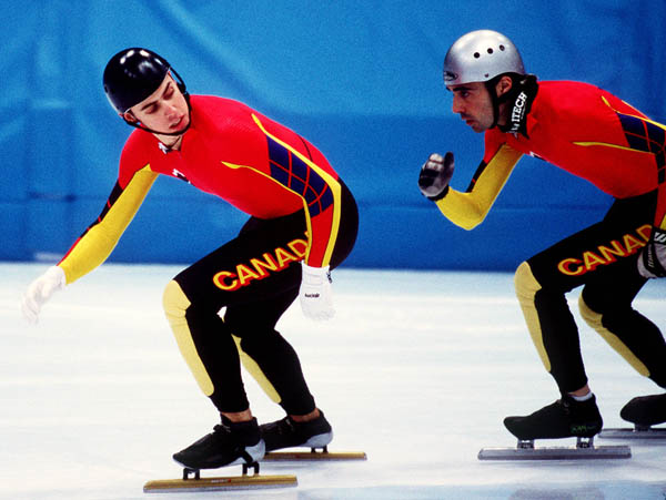 Canada's Eric Bedard competes in the Speed skating-short track event at the 1998 Nagano Olympic Games. (CP Photo/ COA)