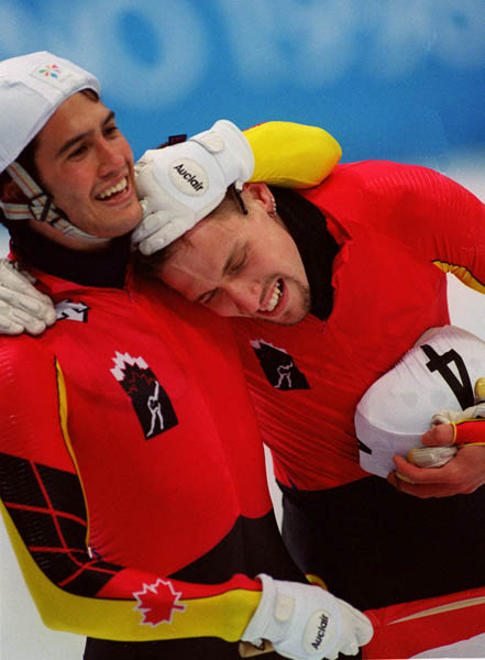 Canada's short track speed skating team; (Left to Right) Derrick Campbell and Marc Gagnon are seen at the 1998 Nagano Olympic Games.. (CP Photo/ COA)