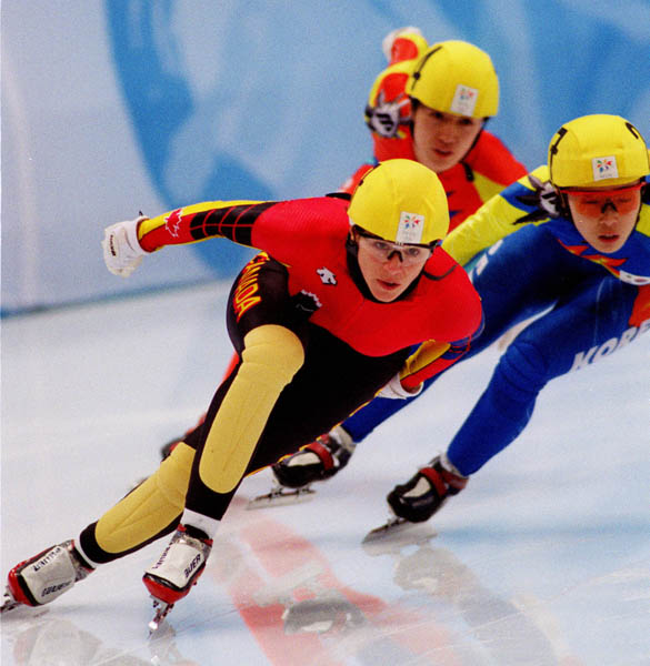 Canada's Isabelle Charest competes in the women's short track speed skating event at the 1998 Nagano Olympic Games. (CP Photo/ COA)