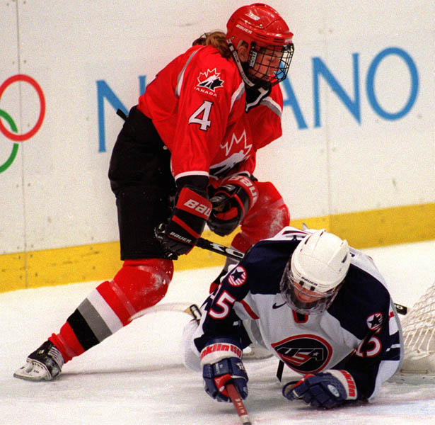 Canada's Becky Kellar in action against her opponent at the 1998 Nagano Winter Olympics. (CP PHOTO/COA)
