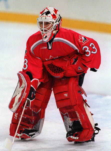 Canada's Manon Rheaume playing hockey at the 1998 Nagano Winter Olympics. (CP PHOTO/COA)