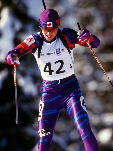 Canada's Lise Meloche competing in the biathlon event at the 1994 Lillehammer Winter Olympics. (CP PHOTO/ COA)
