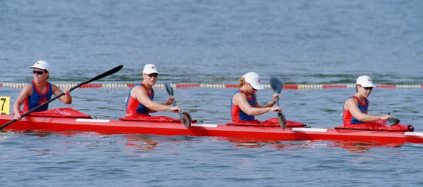 Canada's women's kayak sprint team, left to right, Klari MacAskill, Marie Josee Gibeau, Corrina Kennedy and Alison Herst at the 1996 Atlanta Summer Olympic Games. (CP PHOTO/COA/Mike Ridewood)