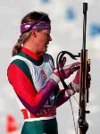 Canada's Jane Isakson competing in the biathlon event at the 1992 Albertville Olympic winter Games. (CP PHOTO/COA/Ted Grant)