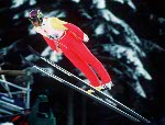 Canada's Kirk Allen competing in the ski jumping event at the 1992 Albertville Olympic winter Games. (CP PHOTO/COA/Scott Grant)
