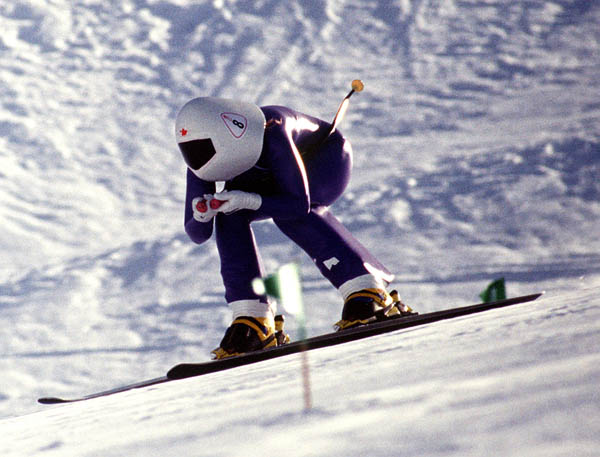 Canada's Lark Frolek competing in the speed skiing event at the 1992 Albertville Olympic winter Games. (CP PHOTO/COA/Scott Grant)