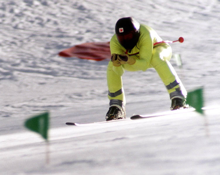 Canada's  Laurent Marechal competing in the speed skiing event at the 1992 Albertville Olympic winter Games. (CP PHOTO/COA/Scott Grant)