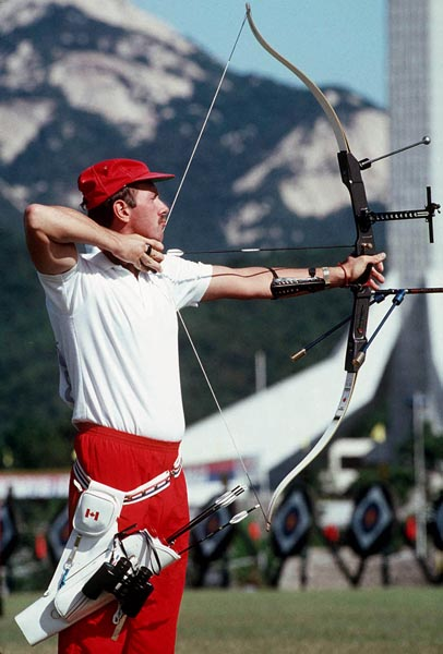 Canada's Daniel Desnoyers competes in the archery event at the 1988 Olympic Games in Seoul. (CP Photo/ COA/F.S.Grant)