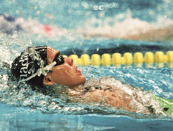 Canada's Lori Melien competing in the swimming event at the 1988 Olympic games in Seoul. (CP PHOTO/ COA/ Cromby McNeil)