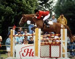 Canada's Hugh Graham riding Abraxas in the equestrian event at the 1988 Olympic games in Seoul. (CP PHOTO/ COA/ C. McNeil)