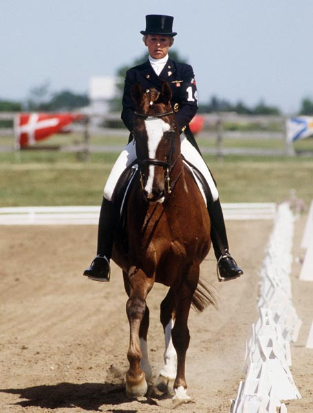 Canada's Eva-Maria Pracht riding Emirage in the equestrian event at the 1988 Olympic games in Seoul. (CP PHOTO/ COA/ C. McNeil)
