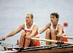 Canada's Silken Laumann (left) and Kay Worthington compete in the rowing event at the 1988 Olympic games in Seoul. (CP PHOTO/ COA/ Cromby McNeil)