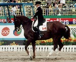 Canada's Eva-Maria Pracht rides Emirage in the equestrian event at the 1988 Olympic games in Seoul. (CP PHOTO/ COA/ C. McNeil)