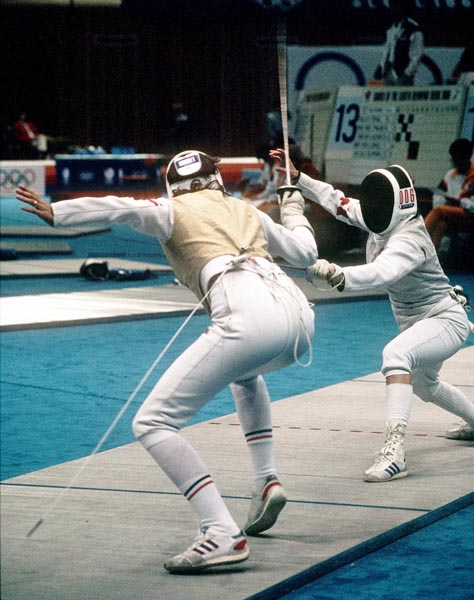 Canada's Thalie Tremblay (right) competes in the fencing event at the 1988 Olympic games in Seoul. (CP PHOTO/ COA/ F.S.G.)