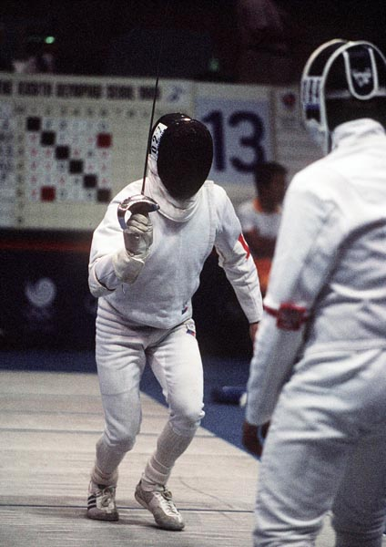 Canada's Wolfe Balk (left) competes in the fencing event at the 1988 Olympic games in Seoul. (CP PHOTO/ COA/ F.S.G.)