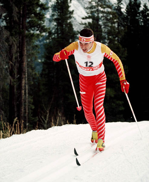 Canada's Pierre Harvey competes in a cross country ski event at the 1988 Calgary Olympic winter Games. (CP PHOTO/COA/ J. Gibson)