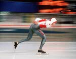 Canada's Ben Lamarche  participates in the speedskating event at the 1988 Winter Olympics in Calgary. (CP PHOTO/COA/T. O'lett)