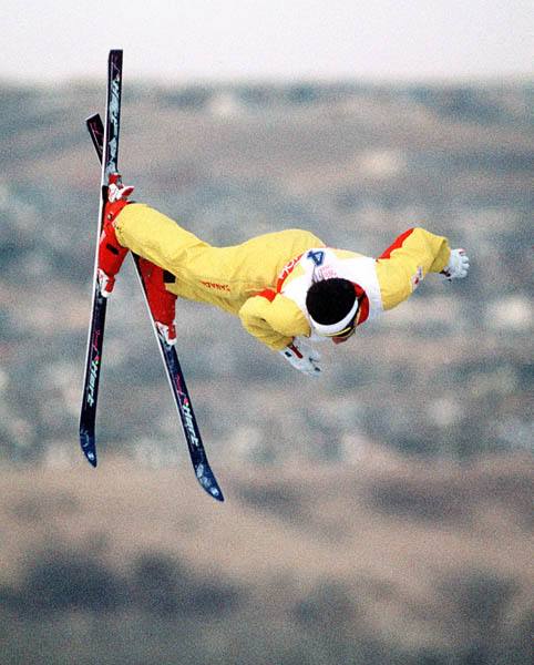 Canada's Lloyd Langlois competes in the freestyle aerials ski event at the 1988 Calgary Olympic winter Games. (CP PHOTO/COA/F.S.Grant)