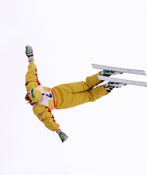 Canada's Anna Fraser competes in the freestyle aerials ski event at the 1988 Calgary Olympic winter Games. (CP PHOTO/COA/F.S.Grant)