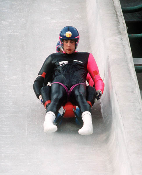 Canada's Harry Salmon and Daniel Doll participate in the luge event at the 1988 Winter Olympics in Calgary. (CP PHOTO/COA/ T. O'lett)