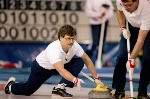 Canada's Neil Houston (left) and Brent Syme compete in the curling event at the 1988 Calgary Olympic winter Games. (CP PHOTO/COA/Ted Grant)