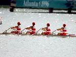 Canada's women's 4x rowing team from left, Kathleen Heddle, Diane O'Grady, Marnie McBean and Laryssa Biesenthal, competes at the 1996 Olympic games in Atlanta. (CP PHOTO/ COA/ Claus Andersen)