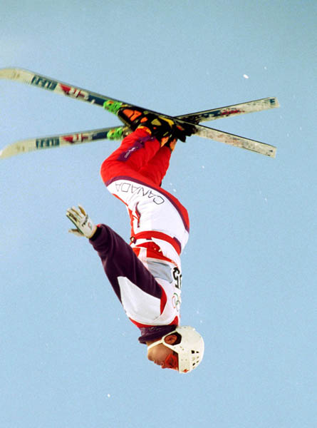 Canada's Philippe Laroche competes in the freestyle aerials ski event at the 1992 Albertville Olympic winter Games. (CP PHOTO/COA/Scott Grant)