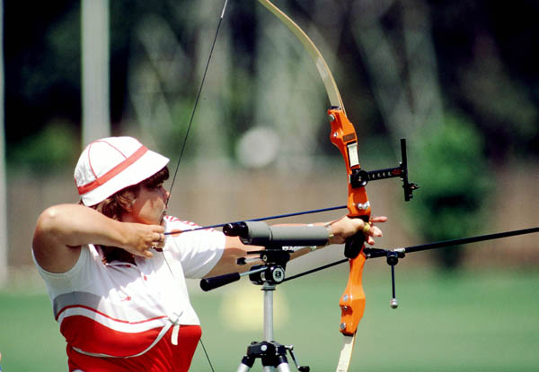 Canada's Wanda Sadegur competes in the archery event at the 1984 Olympic Games in Los Angeles. (CP Photo/ COA/Tim O'lett)