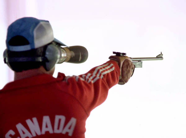 Canada's Guy Lorion Jr. competes in a shooting event at the 1984 Olympic games in Los Angeles. (CP PHOTO/ COA/ Tim O'lett)