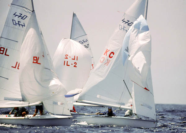Canada's Frank McLaughlin and Martin ten Hove (right) compete in the yachting event at the 1984 Olympic games in Los Angeles. (CP PHOTO/ COA/ Cromby McNeil)
