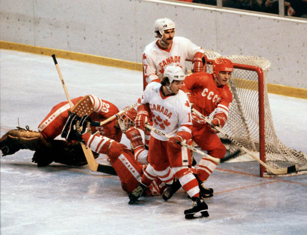Team Canada competes in hockey action against the U.S.S.R. at the 1980 Winter Olympics in Lake Placid. (CP Photo/ COA)