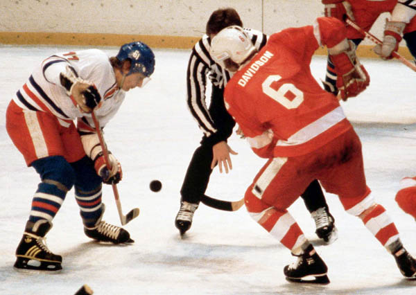 Canada's Ron Davidson (right) competes in hockey action at the 1980 Winter Olympics in Lake Placid. (CP Photo/ COA)