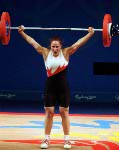Canada's Maryse Turcotte participates in the women's weightlifting event at the 2000 Sydney Olympic Games. (CP Photo/COA)