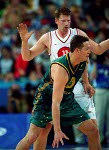 Canada's Todd MacCulloch (11) covers angles during basketball action at the 2000 Sydney Olympic Games. (CP Photo/ COA)