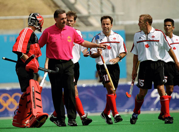 Canada's men's field hockey team plays field hockey at the 2000 Sydney Olympic Games. (CP Photo/ COA)