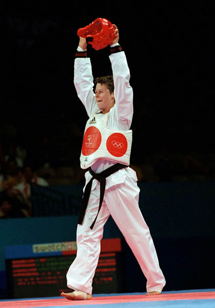 Canada's Dominique Bosshart competes in the Taekwondo event of the 2000 Sydney Olympic Games. (CP PHOTO/ COA)