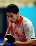 Canada's Kurt Lui plays table tennis at the 2000 Sydney Olympic Games. (CP PHOTO/ COA)