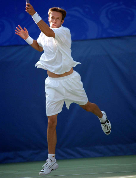 Canada's Daniel Nestor plays a set of doubles tennis at the 2000 Sydney Olympic Games. (Mike Ridewood/CP Photo/ COA)