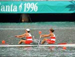 Canada's Anna Van Der Kamp (right) and Emma Robinson compete in the women's 2x rowing event at the 1996 Atlanta Summer Olympic Games. (CP Photo/COA/Mike Ridewood)