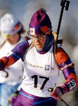 Canada's Kristin Berg competes in the biathlon event at the 1994 Lillehammer Olympic winter Games. (CP Photo/COA/Ted Grant)