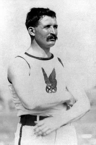 Canada's Etienne Desmarteau participates in an athletics event at the 1904 St. Louis Olympics. (CP Photo/COA)